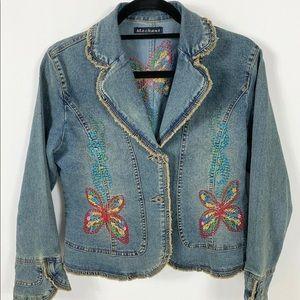 MECHANT Embroidered Raw Edge Boho Denim Jacket